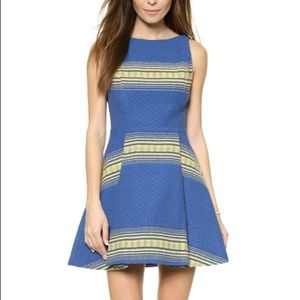 Alice and Olivia blue and gold a line dress 4